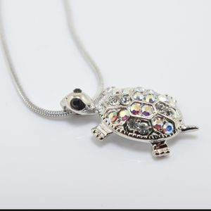 Colourful Crystal Turtle Pendant Necklace